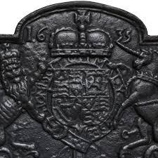 cast iron fireback. Cast Iron Coat Of Arms Unicorn Lion Fireback A