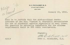 "Winston Churchill Gets A Doctor's Note To Drink ""unlimited"" Alcohol ..."