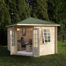 garden building. Forest 10x10 (3x3m) Adelaide 28mm Shingle Roof Log Cabin (Wenlock) Garden Building Y