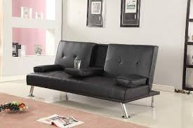 futon sofa bed. Cinema Style Futon Sofabed With Drinks Table Sofa Bed Faux Leather In Black