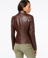 guess quilted detail faux leather moto jacket in brown lyst faux leather jacket