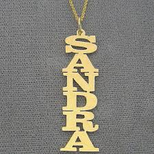 silver or 18k yellow or white solid gold personalized vertical name pendant necklace laser cut nn07