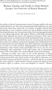 Women Gender And Guilds In Early Modern Europe An Overview Of