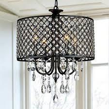 crystal chandelier round 4 light fixture drum pendant ceiling lamp glam lighting
