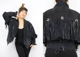 vintage 80 39 s black suede leather fringe jacket 1980