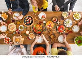 Friends Dinner Table Top View People Stock Photo Safe to Use