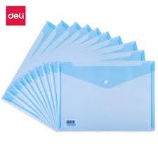 <b>Deli</b> 10 12pcs/set file transparent <b>A4</b> plastic snap portfolio office ...