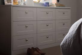 shaker dove grey chest of drawers with mushroom nickel s