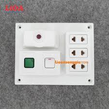 Bảng điện nổi LiOA 15A có 3 ổ cắm 2 chấu 1 công tắc 1 đèn báo màu xanh, Giá  tháng 10/2020
