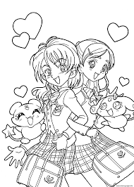 Funny Pretty Anime Girls Coloring Pages Printable