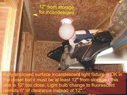 closet fire prevention fully enclosed surface incandescent light fixture is ok but must be 12