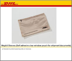 Dhl Plastic Waybill Sleeves Self Adhesive Clear Window Pouch For