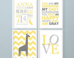 baby birth print giraffe baby room decor giraffe personalized baby decor with stats yellow gray birth announcement wall art baby stats on personalized baby announcement wall art with baby room etsy