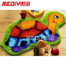 hot latch hook rug kits diy needlework unfinished crocheting rug yarn cushion mat cartoon tortoise embroidery