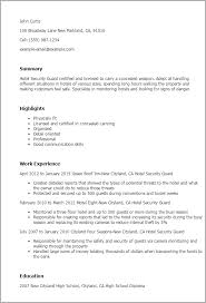 Resume Templates: Hotel Security Guard