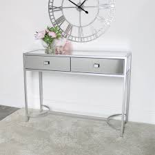silver mirrored console hall table