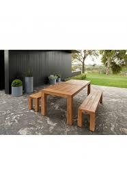 bairo teak timber outdoor dining table 240 cm setting 2 bench seats