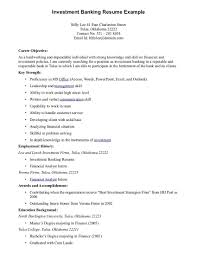 sample resume for investment banking good objectives for examples best career objective sample of