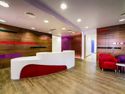 hotel reception desk design with large size using colorful ideas