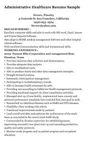 Resume For Healthcare Administrative Healthcare Resume Sample Severe Timothy 4 Contreds