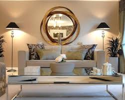 unique round wall mirror for elegant living room design with
