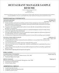 Restaurant Manager Resume Sample Simple Sample Resume Restaurant Manager Fine Dining Packed With Resume