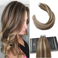Light Ash Brown With Highlights Buy Ugeat Tape In Seamless Hair Extensions Highlight Color