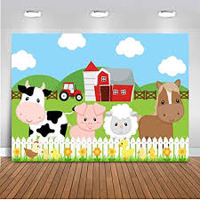 Mocsicka <b>Farm Barnyard</b> Birthday Backdrop 7x5ft <b>Cartoon</b> Red <b>Barn</b> ...