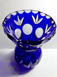 vintage small bohemian cobalt blue cut to clear crystal vase czech glass 1 of 11 see more