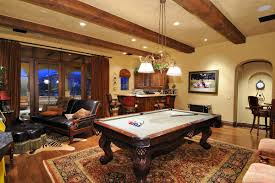 Home Interiors:Minimalist Game Room With Brown Cabinets And Brown Rug  Design Ideas Luxury Game