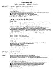 Electrical Technician Resume Sample Electrical Instrumentation Technician Resume Samples Velvet Jobs 11