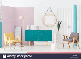 modern stylish furniture. Stylish Furniture Campaign Idea For A Modern Living Room Interior With  Pastel Colors, Turquoise Blue Scandinavian Style Sideboard And Elegant Decorati Stylish I
