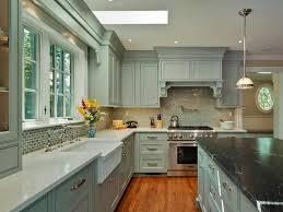 grey painted kitchen cabinets ideas. Greenish Grey Painted Kitchen Cabinets Medium Wood Flooring White Tile In Sink Black Marble Countertop Gas Range And Hood Backsplash Pendant Lights Ideas