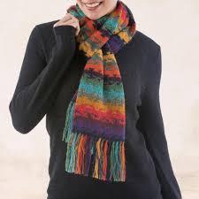 alpaca wool striped scarf from peru andean twilight