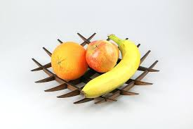 modern fruit bowl from solid wood with banana hanger