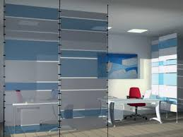 modern blue and white glass room divider decorate office room with freestanding desks also red swivel blue office decor