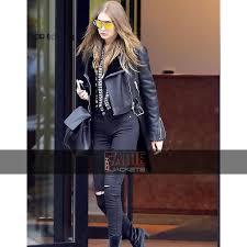 gigi hadid black leather jacket with fur collar