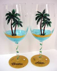 Wine Glass Decorating Designs Palm Tree Wine Glass Beach Wine Glass by Pendragonartworks Wine 10