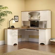 l shaped white computer corner desk with hutch and awesome desk lamp