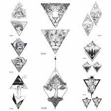 черный треугольник временные татуировки волны мужские наклейки на
