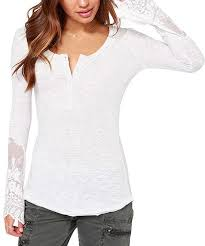Haoduoyi Size Chart Haoduoyi White Lace Inset Henley Tee Zulily 34 99