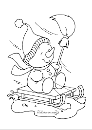 Printable Christmas Snowman Sled Coloring Pages