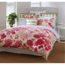 awesome women bedroom designs pictures red flower fabric bedding sets round white lacquered wood end table