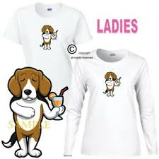 Details About Beagle Dog Breed Cartoon Art Drinking A Cocktail Ladies White T Shirt S 3x