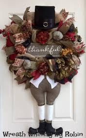 Thanksgiving Pilgrim Burlap Mesh Floral Wreath with Thankful Sign ...