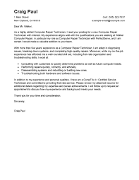 Computer Support Technician Cover Letter Cover Letter Example Cover