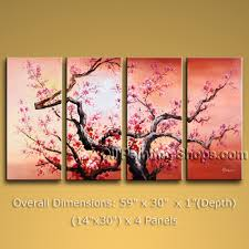 Tetraptych Contemporary Wall Art Landscape Painting Tree Gallery Wrapped.  In Stock $158 from OilPaintingShops.