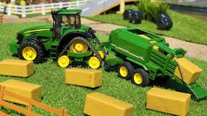 bruder tractor farming toys john deere haybale action video for kids