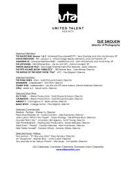 resume for director of photography cipanewsletter resumeacute u2014 elie smolkin director of photography