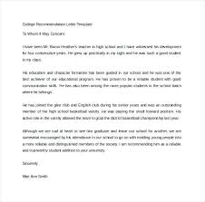 Sample College Reference Letters College Recommendation Letter Template From Teacher Reference Sample